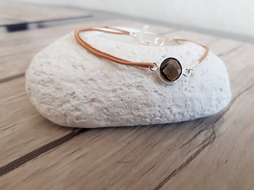 "Bracelet cuir et Argent ""Botein"""
