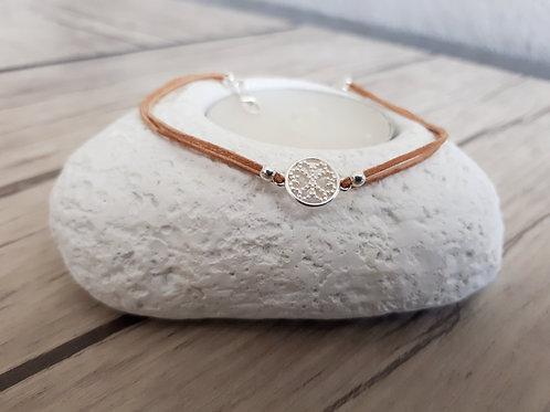 """Bracelet cuir et Argent """"Mintaka"""""""