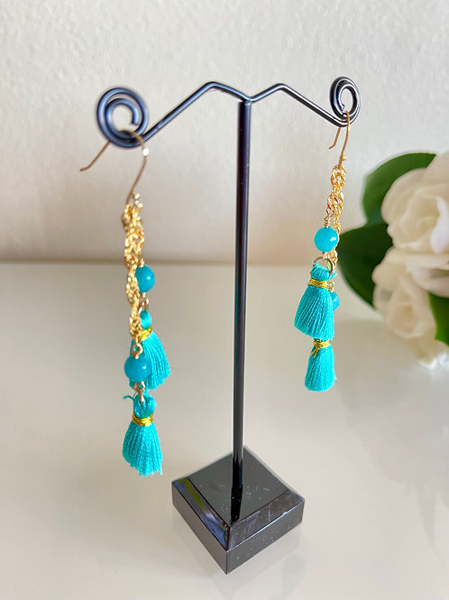 Alabaster tassel earrings with sterling silver hooks in gold plated