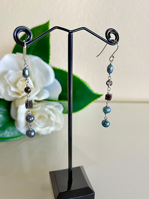 Grey freshwater pearls& crystal earrings with silver 925 earring hooks