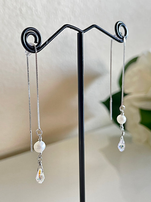 Swarovski element crystal and freshwater pearl earrings with silver 925 chain