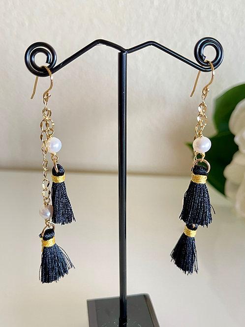 White freshwater pearl tassel earrings with sterling silver hook