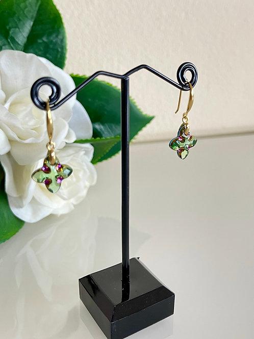 Swarovski crystal pierced earrings with sterling silver settings