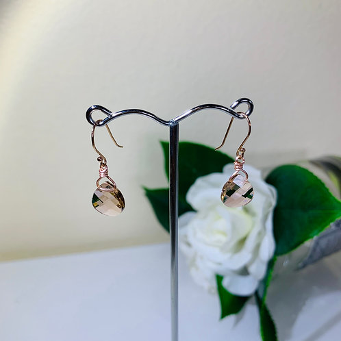 Silver 925 Swarovski crystal pierced earrings with rose gold plated hooks