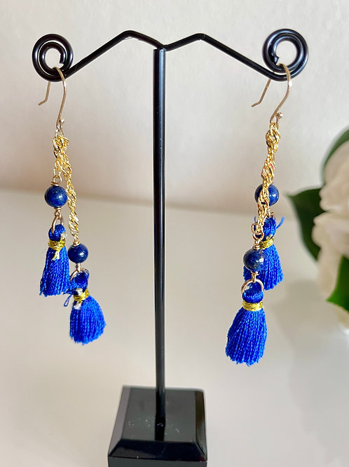 Lapis lazuli tassel earrings with sterling silver hooks in gold plated