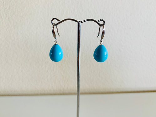 Silver 925 Turquoise blue shell pearl pierced earrings