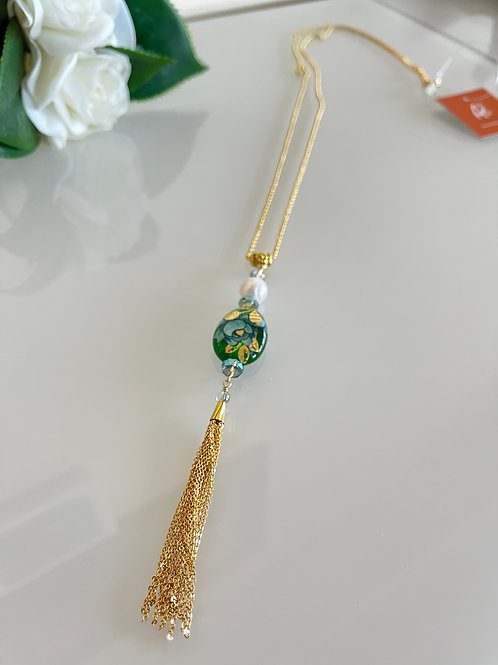 Japanese Tensha beads & Fresh water pearl chain necklace