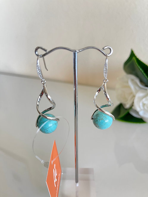 Howlite earrings with sterling silver hooks