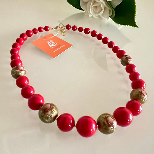 Japanese Tensha beads and shell pearl necklace