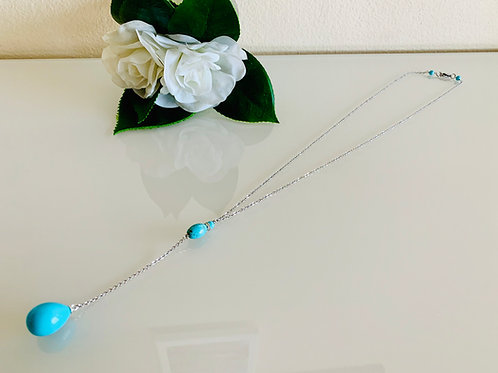 Turquoise blue shell pearl Y chain necklace