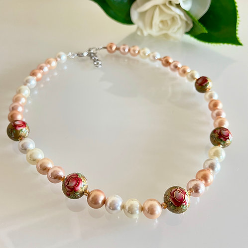 Japanese Tensha beads, shell pearl and crystal necklace
