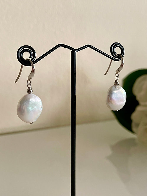 Silver 925 Freshwater coin shape pearl pierced earrings