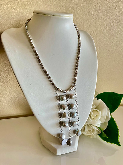 Grey freshwater pearl necklace in surgical stainless steel