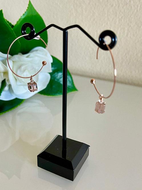 Swarovski cube crystal loop earrings in silver 925 pink gold plated