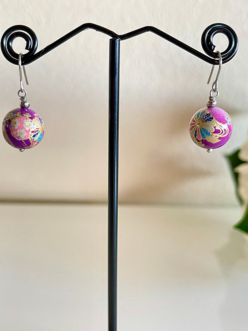 Japanese tensha beads earrings with surgical stainless hooks
