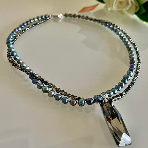 Silver 925 Swarovski pendant necklace with freshwater pearl crystal glass
