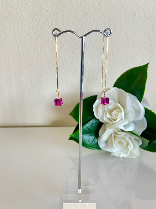 Swarovski cube crystal earrings with silver 925 chain with gold plated