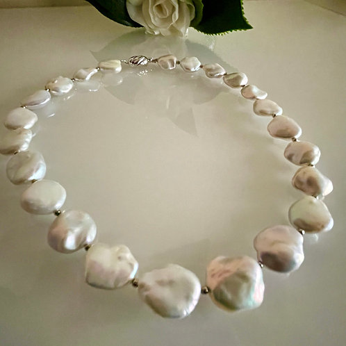 Silver 925 Natural freshwater coin shape pearl necklace
