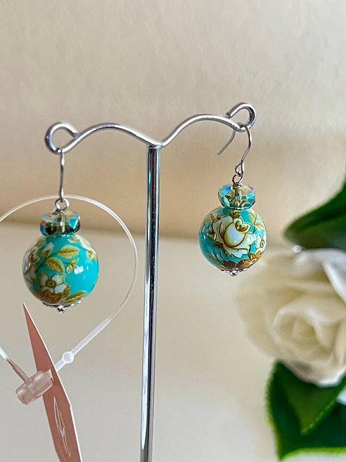 Japanese Tensha beads pierced earrings with surgical stainless hooks
