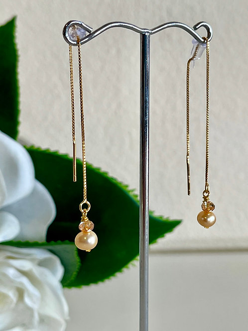 Gold pearl & swarovski crystal earrings with silver 925 chain with gold plated