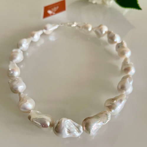 Silver 925 Natural freshwater baroque pearl necklace