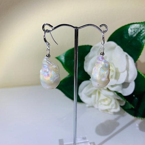 Silver 925 Freshwater Baroque pearl pierced earrings.