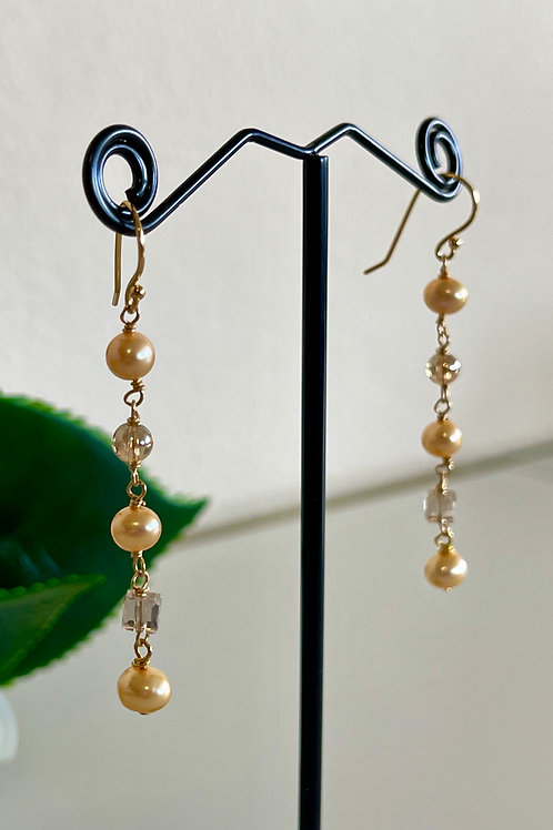 Golden freshwater pearls & crystal earrings with silver 925 hooks