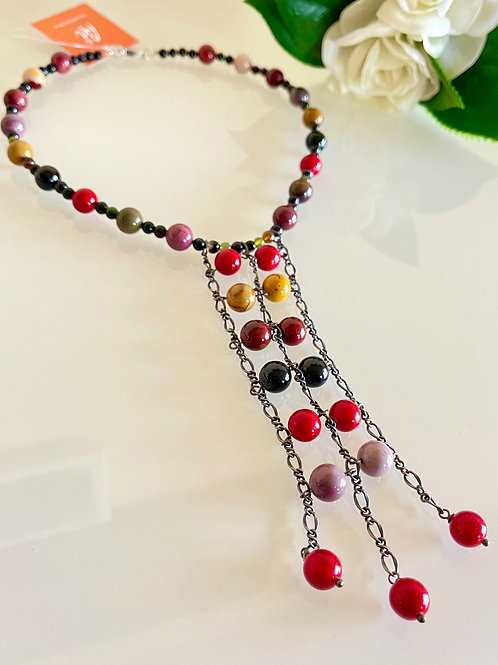 Jasper and red shell pearl necklace in stainless steel clasp