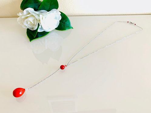 Red shell pearl Y chain necklace