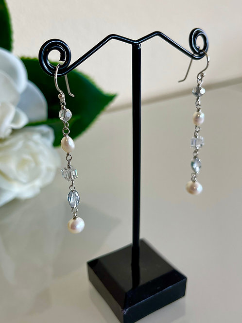 White freshwater pearls & crystal earrings with silver 925 hooks