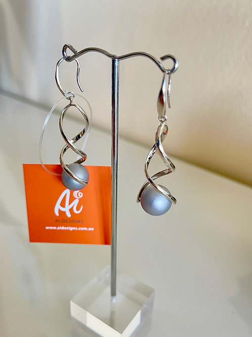 Grey shell pearl earrings with sterling silver hooks
