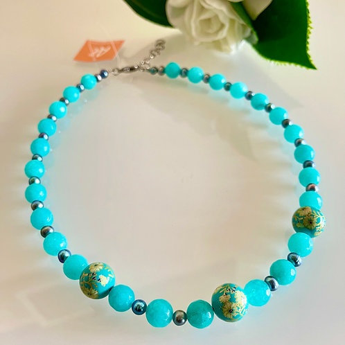 Japanese Tensha beads and freshwater pearl and Malaysian jade necklace