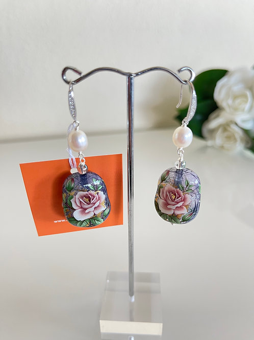 Japanese Tensha beads pierced earrings with silver 925 settings