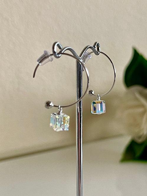Swarovski element cube crystal loop earrings in silver 925