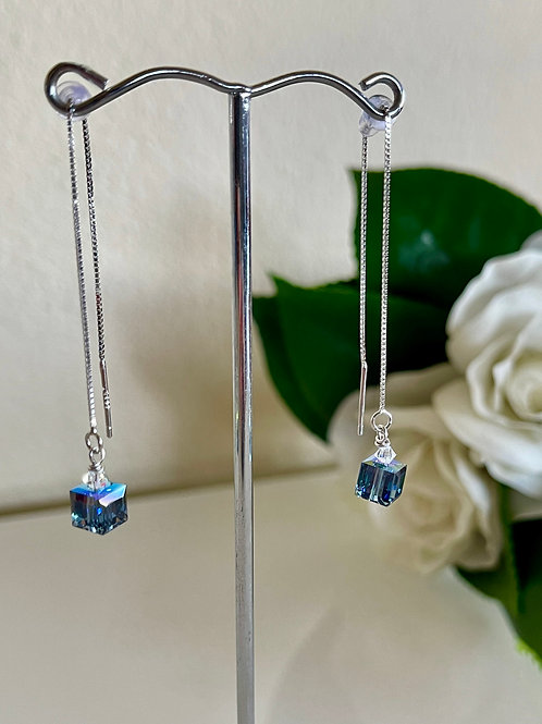 Swarovski cube crystal earrings with silver 925 chain