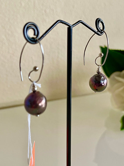 Black freshwater pearl earrings in sterling silver