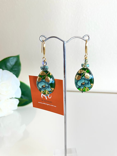 Japanese Tensha beads pierced earrings with silver 925 hooks with gold plated