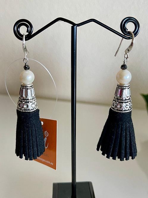 White freshwater pearl tassel earrings with sterling silver hooks