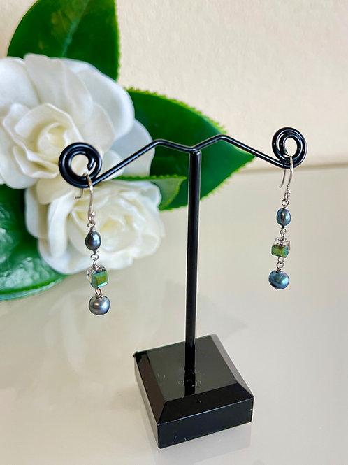Grey freshwater pearls&crystal earrings with silver 925 earring hoo