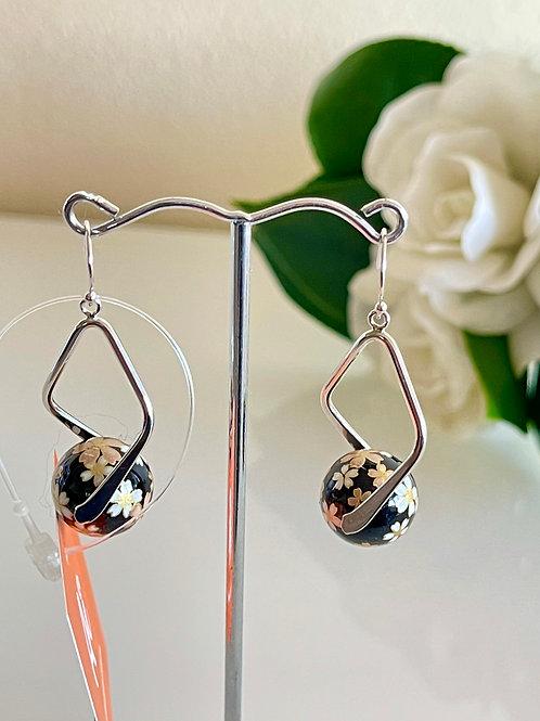 Japanese tensha beads earrings with sterling silver hooks