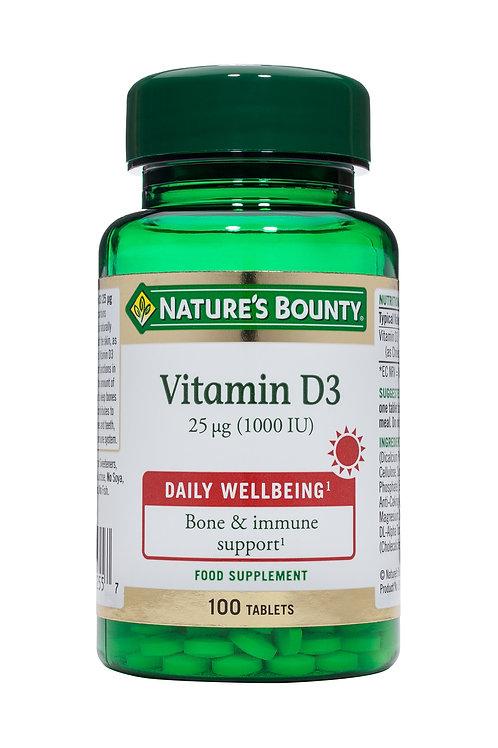 Nature's Bounty Vitamin D3 25ug (1000iu) 100 Tablets