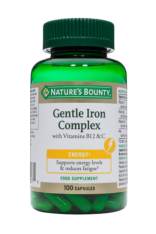 Nature's Bounty Gentle Iron Complex with Vitamins B12 and C, Pack of 100 Caps