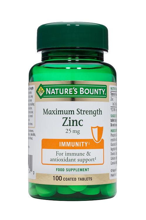 Nature's Bounty Maximum Strength Zinc 25 mg 100 Coated Tabs