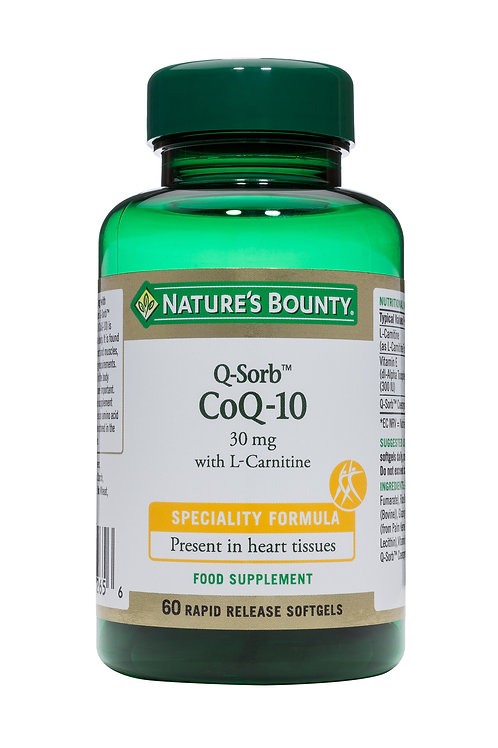 Nature's Bounty Q-Sorb Coq-10 with L-Carnitine Softgels, 30 mg Pack of 60