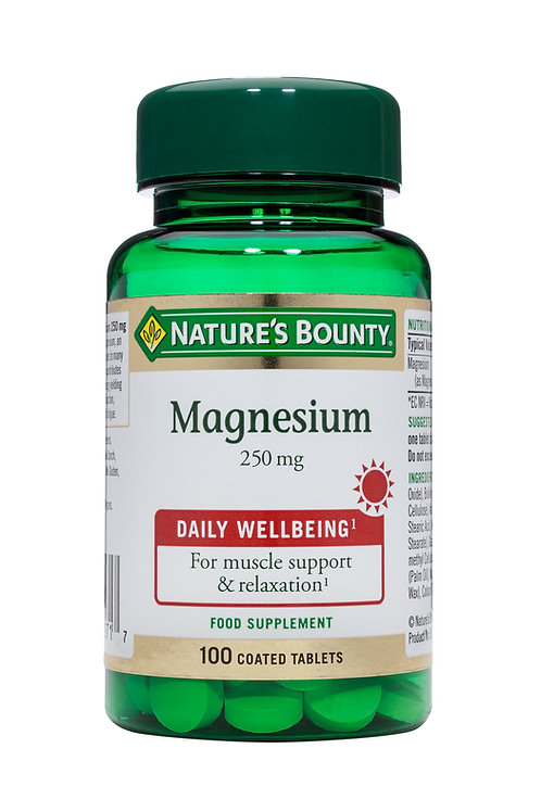 Nature's Bounty Magnesium 250 mg 100 Coated Tablets
