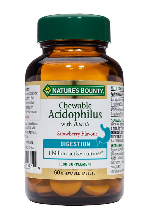 Nature's Bounty Probiotic Acidophilus Chewable Tablets, Strawberry, Pack of 60