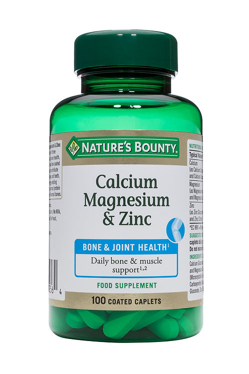 Nature's Bounty Calcium, Magnesium and Zinc Coated Caplets, Pack of 100