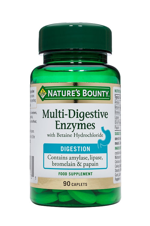 Nature's Bounty Multi-Enzyme Complex with Betaine Hydrochloride 90 Caplets