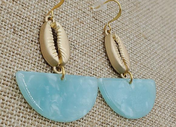 Gold Cowrie Shell Seafoam Earrings