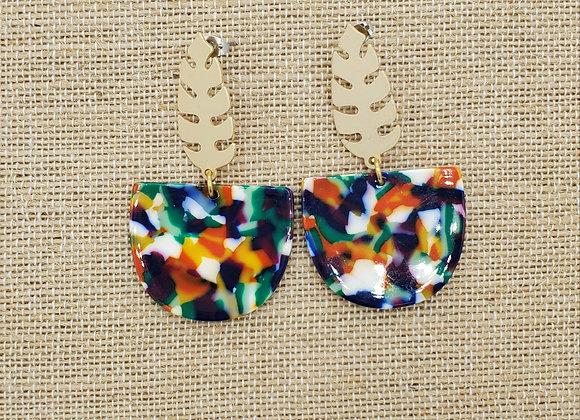 Taste the Tropics Gold Leaf & Colorburst Resin Earrings